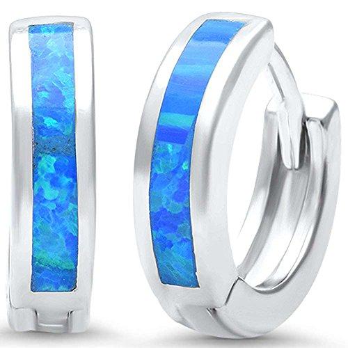 3mmx12mm Hoop Huggie Earrings Created Blue Opal 925 Sterling Silver