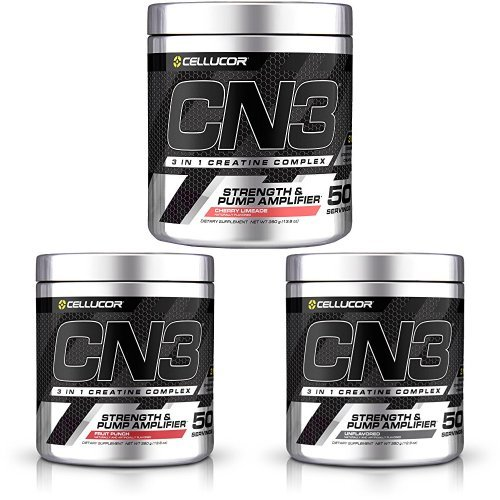 Cellucor CN3 Creatine Nitrate, Creatine HCl, Creatine Monohydrate Powder, Strength and Pump Amplifier, Cherry Limeade, Fruit Punch & Unflavored, 150 Servings Bundle by Cellucor