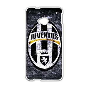 Custom HTC One Case HTC One M7 Protective Cover Juventus Logo Black Grey Hard Case White Side Plastic Cover