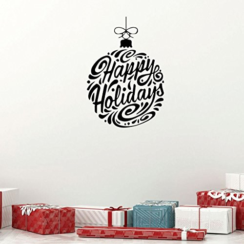 Christmas Ornament Wall Decal - Happy Holidays - Vinyl Decor Stickers for Living Room or Home Decoration