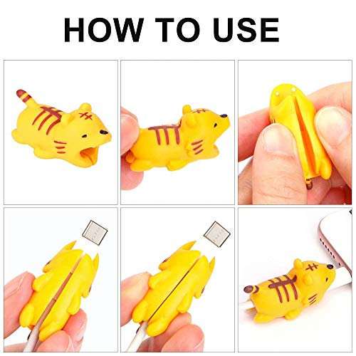 EnjoCho Animal Cable Bite Protector for Iphone Cable Winder Panda Phone Holder Accessory Organizer Dog Cat Doll Toys (4PCS, J-2) by EnjoCho (Image #5)