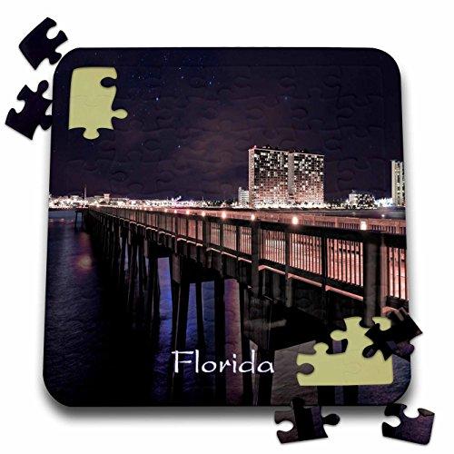 Florida - Image of Panama City Pier At Night - 10x10 Inch Puzzle - Panama City Pier