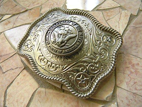 Navy Belt Buckle, Silver Military Western Womens Mens Buckle, US Navy Wife Girlfriend USN Gift