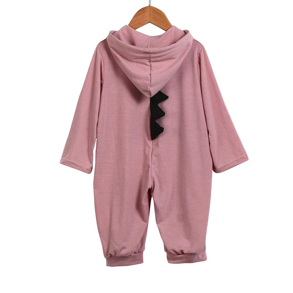 KASSD Newborn Infant Toddler Baby Girls Boys Cartoon Dinosaur Hoodie Romper Zip Jumpsuit Clothes 0-24 Months
