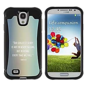 Suave TPU GEL Carcasa Funda Silicona Blando Estuche Caso de protección (para) Samsung Galaxy S4 IV I9500 / CECELL Phone case / / Confucius Quote Falling Get Up /
