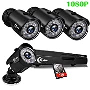 #LightningDeal 72% claimed: XVIM 8CH 1080P Security Camera System Home Outdoor 1TB Hard Drive Pre-Install CCTV Recorder 4pcs HD 1920TVL Upgrade Surveillance Cameras with Night Vision Easy Remote Access Motion Alert