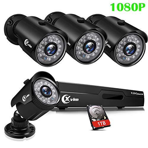 XVIM 8CH 1080P Security Camera System Home Outdoor 1TB Hard Drive Pre-Install CCTV Recorder 4pcs HD 1920TVL Upgrade Surveillance Cameras with Night Vision Easy Remote Access Motion -