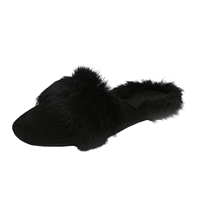 26ba1b0d457 Image Unavailable. Image not available for. Color  Fluffy Faux Fur Flat  Slippers Womens Warm Non-Slip On Sliders Flip ...