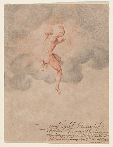 A Nude Male Seen from the Back in Clouds (after Michelangelo Buonarroti) Poster Print by Daniel Fröschl (18 x 24)