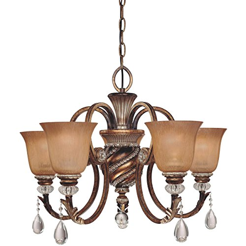 Minka Aston Court Collection (Minka Lavery 174-206, Aston Court Crystal 1 Tier Chandelier Lighting, 5 Light, 300 Watts, Bronze)