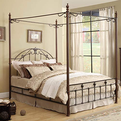 Inspire Q Newcastle Graceful Scroll Bronze Iron Canopy Poster Bed by Classic King ()