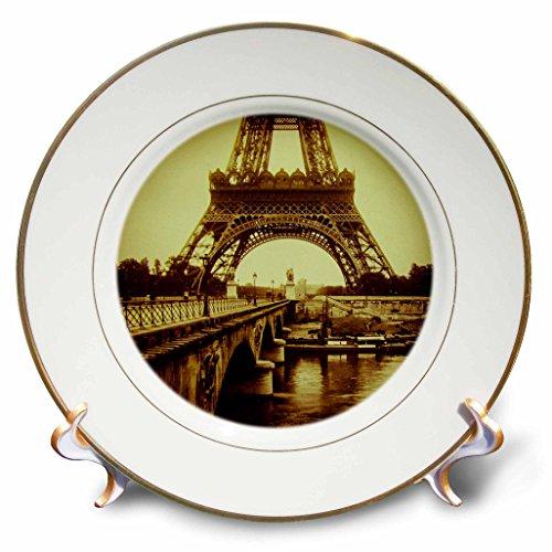 3D Rose Base of Eiffel Tower Paris France Vintage Magic Lantern Sepia Toned Porcelain Plate ()