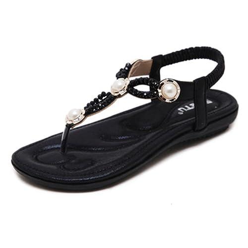 2928fa43e0e78 GIY Women s Glitter Flat Sandals T-Strap Flip Flops Bling Summer Beach  Platform Comfort Elastic