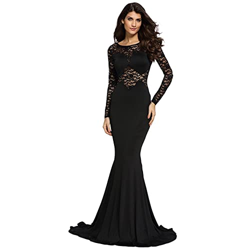 Cfanny Womens Lace Sleeves Mermaid Prom Evening Dress