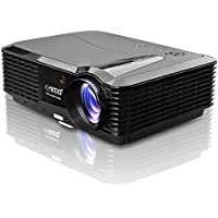 LCD Home Video HD Projector HDMI 1080p Support 3500 Lumen Outdoor Entertainment Movie Projector WXGA Native Resolution Compatible with iPad Laptop DVD Player Xbox,with Keystone & Speakers