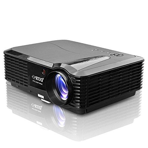 EUG Heimkino Projektor HD Auflösung unterstützt 1080p 3400 Lumen für Filmabend Multimedia Player für Videospiele TV Ipad PC DVD LCD Beamer 1280 x 800