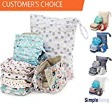 Simple Being Unisex Reusable Baby Cloth Diapers, Washable Adjustable Eco-Friendly, Soft Super Absorbent Fabric with Waterproof Cover (Whimsical), Shower Gift Registry