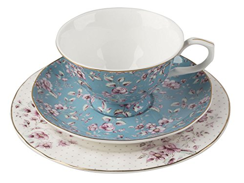 Katie Alice Ditsy Floral Teal Afternoon Tea Set, Bone China 7 x 19 x 19 cm