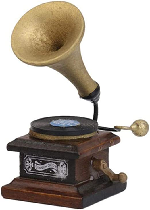 1//12 Retro Miniature Phonograph Gramophone For Dolls Room New# House Music Y0O3