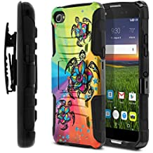 Alcatel Idol 5 6060C 5.2 Case, Fincibo (TM) Dual Layer Hybrid Armor Heavy Duty Hard Protector Cover Kickstand Stand Soft TPU Skin with Holster, Colorful Turtle