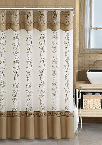 GoodGram VCNY Luxurious Daphne Embroidered Sheer & Taffeta Fabric Shower Curtains by Assorted Colors (Beige/Gold)