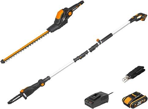WORX WG908E - Cortasetos y sierra de podar con batería (20 V, 2 Ah, PowerShare, incluye batería,