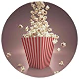 Round Rug Mat Carpet,Modern,Retro Style Popcorn Art Image Home Cafe Design Kitchenware Cardboard Vintage Cinema,Light Red White,Flannel Microfiber Non-slip Soft Absorbent,for Kitchen Floor Bathroom
