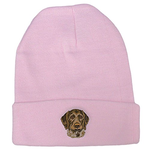 German Wirehaired Pointer Club - Cherrybrook Dog Breed Embroidered Ultra Club Classic Knit Beanies - Pink - German Wirehaired Pointer