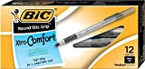 BIC Round Stic Grip Xtra Comfort Ball Pen, Medium (1.2 mm), Black, 12-Count