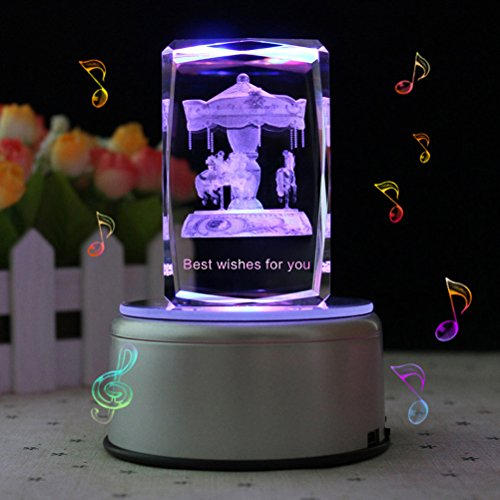 LIWUYOU Rectangle Crystal 3D Carousel Horse Colorful LED Rotating Musical Box, Carousel, Music Base (Rotating Musical Figurine)