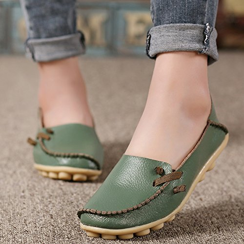 Lucksender Damen Weichleder Comfort Driving Loafers Schuhe Armeegrün