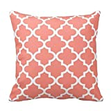 Coral and White Decorative Cushion Covers Throw Pillow Case Moroccan Quatrefoil Pattern Print Square Two Sides 16X16 Inch