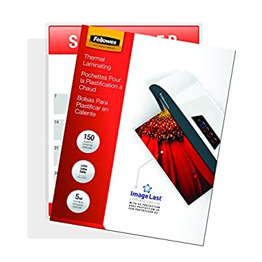 Fellowes Thermal Laminating Pouches, ImageLast, Letter Size, 5 Mil, 150 Pack (5204007)
