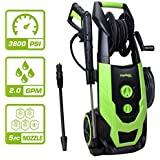 PowRyte Elite 3800 PSI 2.0 GPM Brushless Induction Electric Pressure Washer with Hose Reel and Extra Turbo Nozzle