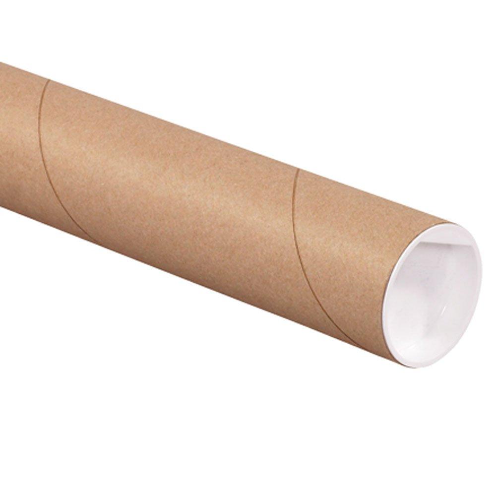 Aviditi P2026K Mailing Tubes with Caps, 2'' x 26'', Kraft (Pack of 50)