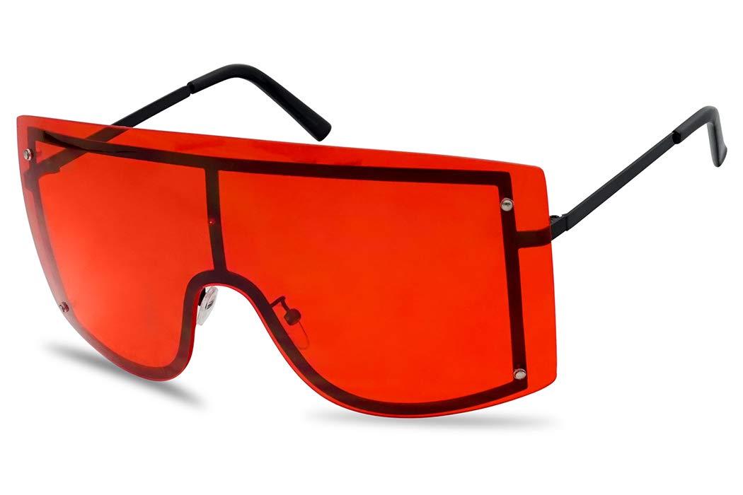 SunglassUP Women's Big Squared Oversized Rimless Shield Color Transparent Visor Sunglasses (Black Frame | Red) by SunglassUP