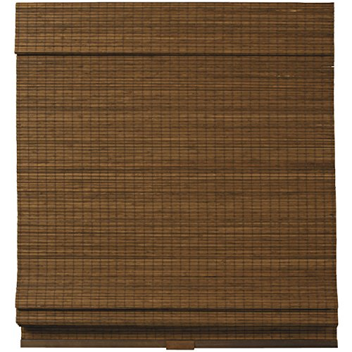 Cordless Woven Wood Bamboo Roman Shade Brown - Natural Bamboo Woven