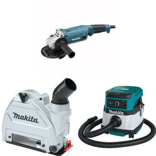 Makita GA5020Y 5-Inch Angle Grinder with Super Joint System  with Makita 196846-1 Dust Extracting Tuck Point Guard, 5 inch with Makita XCV04Z 18V X2 LXT Lithium-Ion Cordless/Corded Dry Vacuum, 2.1 gallon