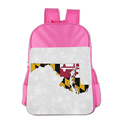 Boys Girls Maryland Flag Map Backpack School Bag (2 Color:Pink Blue) Pink (Pottery Barn Maryland)