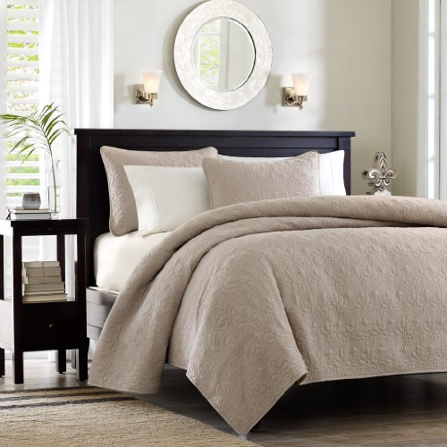 Madison Park MP13-481 Quebec Coverlet Mini Set Twin/Twin X-Large Khaki,Twin/XL - Stitch Coverlet Set