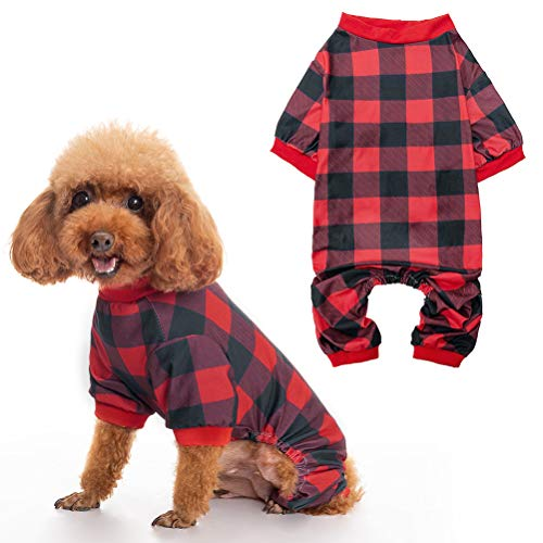 Cute Plaid Dog Pajamas – Pajamas for Dogs, Super Soft Breathable Pet Shirts Clothes PJS Sweet Cat Apparel Jammies Doggie…