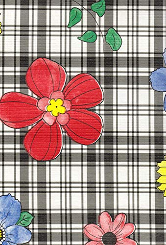 Broder Manufacturing Inc Plaid Flower Flannel Backed Vinyl Tablecloth, Black, 52x70 Oblong (Rectangle) -