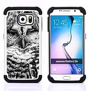 "Hypernova Híbrido Heavy Duty armadura cubierta silicona prueba golpes Funda caso resistente Para Samsung Galaxy S6 / SM-G920 [Negro White Bird Naturaleza linda""]"