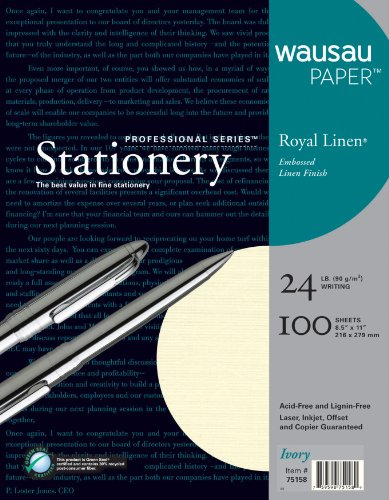 Neenah Royal Linen Fine Business Stationery, 8.5 X 11 Inches, Ivory, 100 Count (75158)