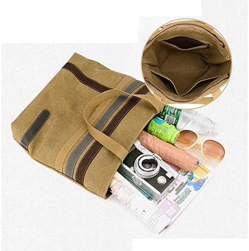 女性ストライプキャンバストートハンドバッグガールズカジュアルショルダーバッグ容量ショッピングバッグ YZUEYT