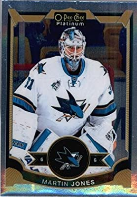 2015-16 O-Pee-Chee OPC Platinum #106 Martin Jones San Jose Sharks Hockey Card in Protective Screwdown Display Case