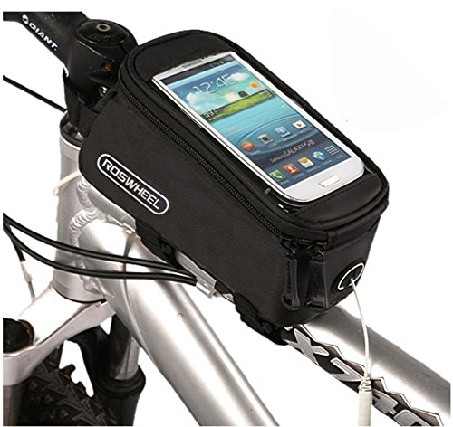 Juscycling Waterproof Top Tube Front Frame Bag Pouch, Mobile Phone Holder 4.8~5.7 inch, for Road Bike MTB Cycling, touchscreen cover, PCV + PU (5.7 Inch)