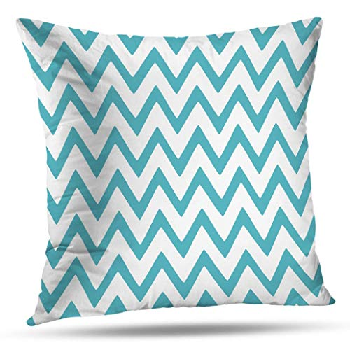 Kutita 20 x 20 inch Throw Pillow Covers,Teal Gray Grey Chevron Pattern Double-sided Sofa Cushion Cover Couch Bed Pillowcase Home Gift Decorative Hidden Zipper Design Cotton Polyester (Chevron Decorative Pillows)