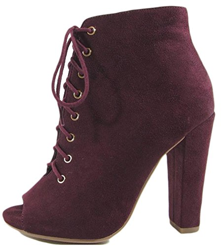 Delicious Women's Naomi Peep Toe Stacked Chunky Heel Ankle Bootie