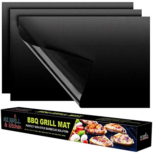 set of 3 - Magic Heavy Duty NON-STICK Reusable Grilling Baking Cooking Mats - Use on Gas Charcoal Weber Electric Charbroil Pellet Grills - Best Outdoor Barbecue Accessories Black (Stone Fish Grill)